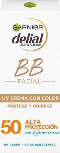 Garnier Delial BB Sun Crema Protector Solar con Color Especial Rostro y Escote IP50+ y con Vitamina E - 50 ml