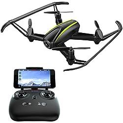 Potensic Drone, U31W Actualizado Wifi FPV 2.4GHz 4CH 6-Axis Gyro RC Quadcopter LED Vuelo Invertido Dron con 2 Megapixels HD Camara Cuadricóptero con Control Remoto, Modo Sin Cabeza, Flips 3D