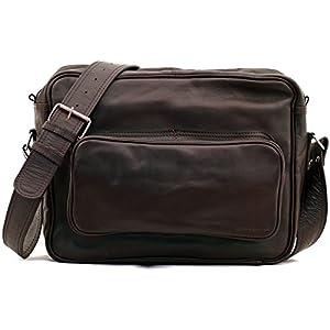 PAUL MARIUS LE RETRO INDUS, Bolso bandolera de cuero, estilo vintage, tamaño A4, color marrón oscuro Vintage & Retro