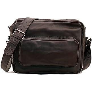 41UrX5uStuL. SS324  - LE RETRO INDUS, Bolso bandolera de piel, estilo vintage, apropiado para A4, color marrón oscuro PAUL MARIUS Vintage & Retro