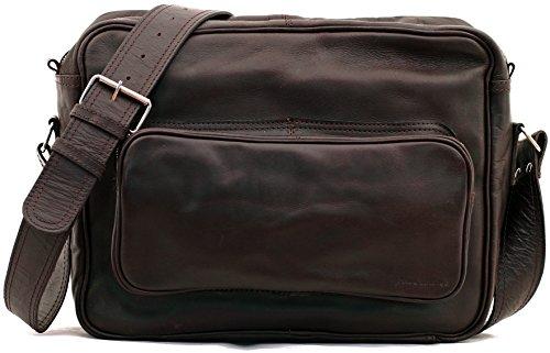 LE RETRO INDUS, Bolso bandolera de piel, estilo vintage, apropiado para A4, color marrón oscuro PAUL MARIUS Vintage &