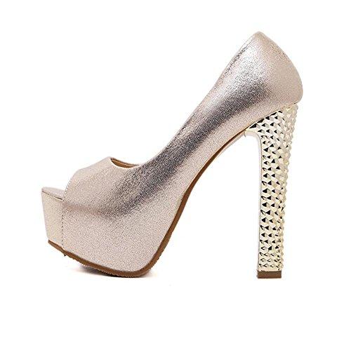YMXJB Chaussures de hauts talons mode Club sexy super épais poisson bouche Gold