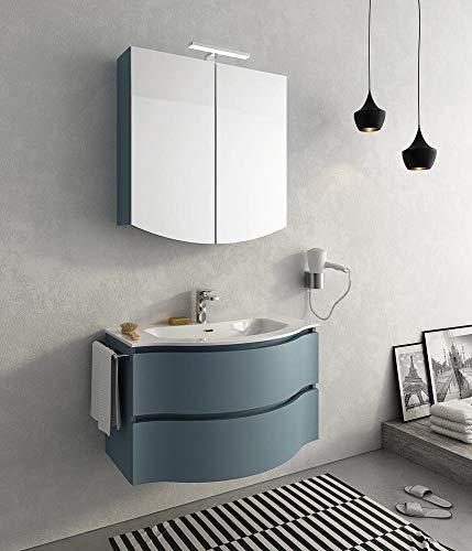 dafnedesign. COM-Badmöbel Größe: L.85p.52/35cm Finish: Tranche 'blau Taube Top: Top Waschbecken in ocritech mit Schale Modell-100% Made in Italy