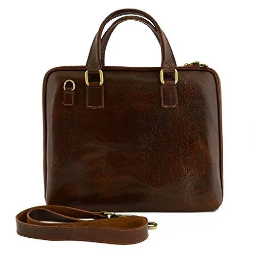 Leder Aktentaschen Mit Reißverschluss Und Zwickel Farbe Braun - Italienische Lederwaren - Aktentasche (Zwickel-aktentasche Aus Leder)