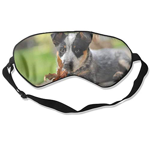 (100% Mulberry Silk Sleep Mask For A Full Night's Sleep, Comfortable And Super Soft Eye Mask With Adjustable Strap, Blindfold, Blocks Light, Australian Shepherd Puppy And Autumn Leaf)