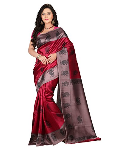 e-VASTRAM Women\'s Mysore Art Silk Saree (NS1B_Pink)
