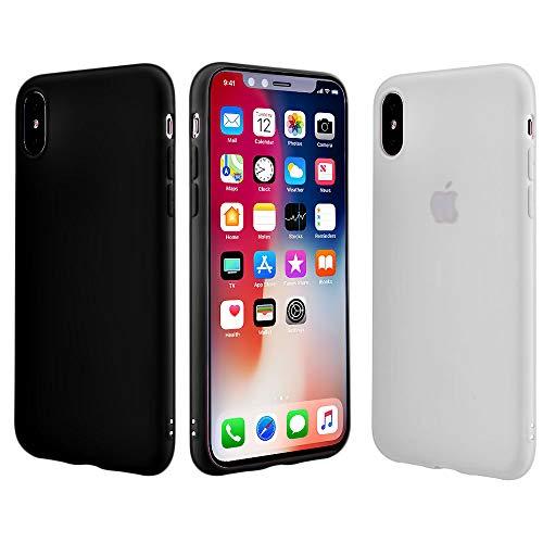 iEugen Schutzhülle für iPhone XS Max 16,5 Zoll (2018), ultradünn, weiche Hülle, schlankes Design, Schutz für iPhone, leicht, Rosa, Screen Resistant Tempered Glass Privacy Front, Black+Clear 2pack