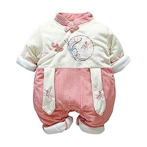 Recién Nacido antigüedad Mono Invierno Moda Niñito Bebé Chicas Labor de Retazos Mameluco Mono Engrosado Trajes de… 5
