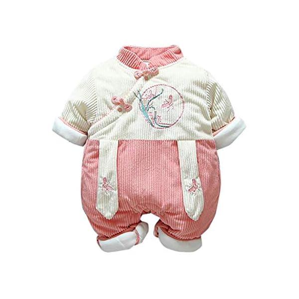 Recién Nacido antigüedad Mono Invierno Moda Niñito Bebé Chicas Labor de Retazos Mameluco Mono Engrosado Trajes de… 1