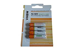 4 batteries Ni-MH Longlife Ready 2 Use 800mAh (1.2V) pour Siemens Gigaset A420A, A420A Duo, A510A, A510H, A510 Duo, A600A comme AAA Micro R3 HR03