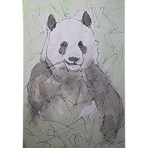 Die Panda-Auf Fabriano Papier gemalt mit Holzrahmen Größe cm 24×32,5 cm,Aquarelltechnik,bereit,an der Wand befestigt zu werden.Hergestellt in Italien Toskana, Lucca Erstellt von Davide Pacini.