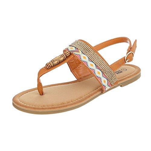 Zehentrenner Damenschuhe Peep-Toe Blockabsatz Strass Besetzte Schnalle Ital-Design Sandalen / Sandaletten Camel