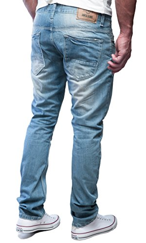MERISH Hommes Jeans look totalement détruit cousu et patché StraightFit design moderne idéal pour les Loisirs, Modell J1156 Bleu