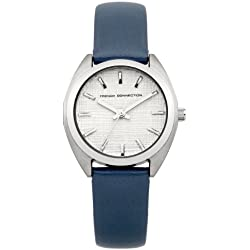 FRENCH CONNECTION Women's Quartz Watch with Silver Dial Analogue Display and Blue Leather Strap FC1200U