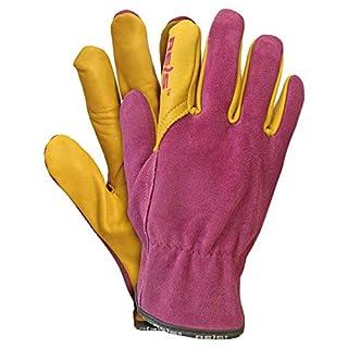 Reis Lampart Leather Gardening Gloves for Women - Pink-Yellow Work Gloves, pink
