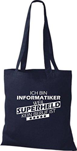 Shirtstown Stoffbeutel Ich bin Informatiker, weil Superheld kein Beruf ist Navy