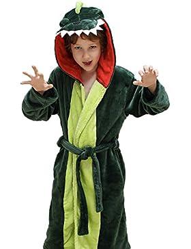 DREAMOWL Albornoz de felpa con capucha de los muchachos de las muchachas - vestido de bata de baño del paño grueso...