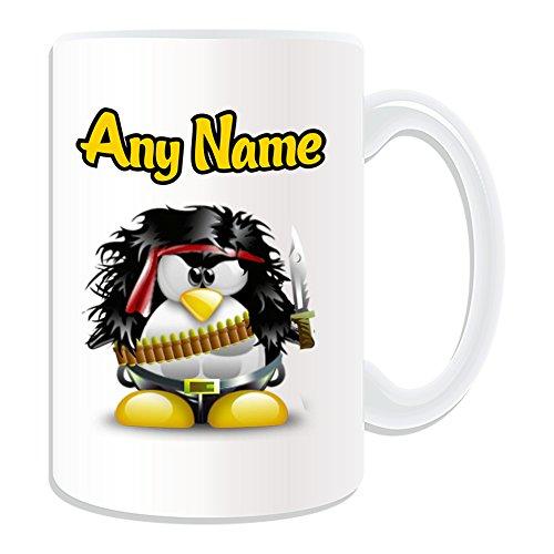 Große Kostüm Rambo - Personalisiertes Geschenk, großer John James Rambo Tasse (Pinguin Film Charakter Design Thema, weiß)-Jeder Name/Nachricht auf Ihre Einzigartiges-Kostüm Film Superheld Hero First Blood