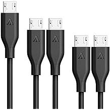 Anker [5-Pack] PowerLine Micro USB Kabel, 2x0.3m + 2x0.9m + 1x1.8m Ladekabel, einer Lebensdauer von 10,000+ Biegungen für Samsung, Nexus, LG, Motorola, Android Smartphones und weitere (Schwarz)