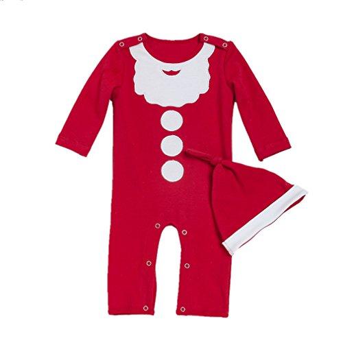 Decstore Bambino 2pcs Natale Costume Babbo Pagliaccetto Pigiama Footed Attrezzatura con cappello(Red 66cm)