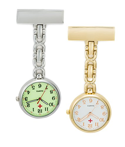 SEWOR Nurses & Doctor Luminous Hanging Pocket Watch 2pcs with Deep Blue Brand Leather Box Great Gift (Gold)