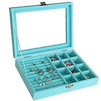 HyFanStr Velvet Glass Jewellery Box Ring Display Organizer Tray Earrings Storage Jewellery Case