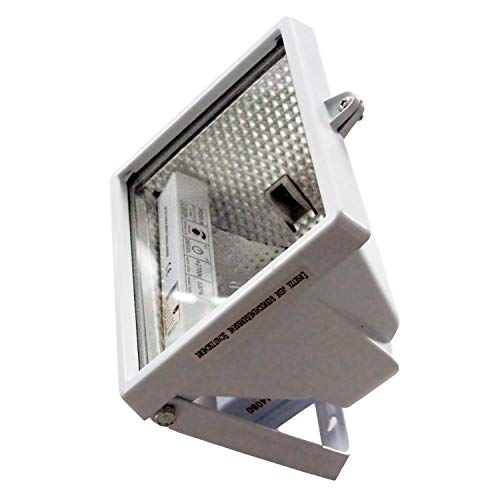 Outdoor Halogen-scheinwerfer (as - Schwabe Halogenstrahler - 120 W Halogen-Fluter geeignet als Baustrahler/Arbeitsleuchte - Energieklasse C - Halogenspot inklusive Leuchtmittel - Leuchte für den Außenbereich - Weiß I 44066)