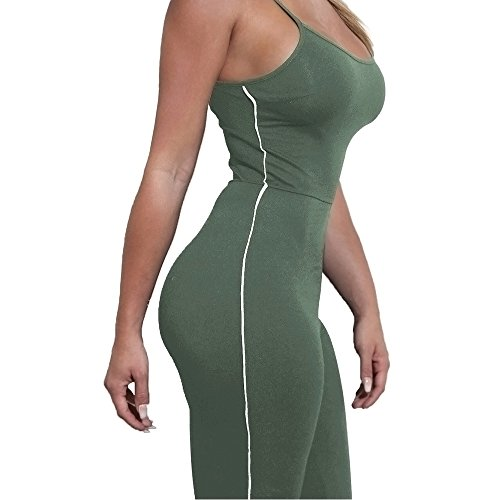 Lrud Sexy Damen Bodycon Lange Overall Ärmellos Abend Party Hohe Taille Strampler Playsuit Jumpsuit Green