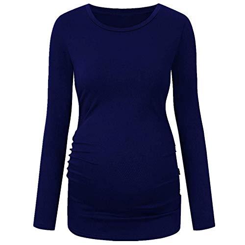 1aa517da36 Manadlian - T-shirts Chemise de Maternité de Maternité Vêtements Bouton et  Ruché Occasionnels T