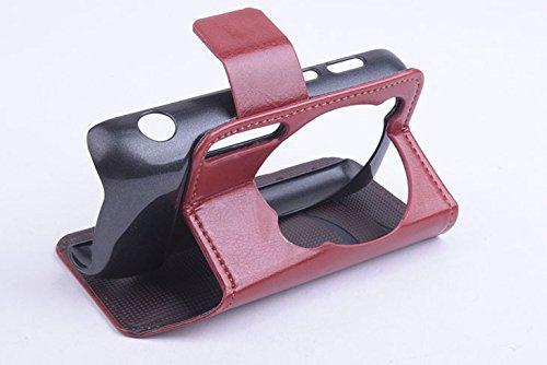 Baiwei Pu Leder Kunstleder Flip Cover Tasche Handyhülle Case für Samsung Galaxy S4 ZOOM SIV SM C1010 C101 (Braun)