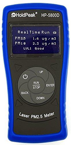 HoldPeak HP-5800D Feinstaubmessgerät Partikelmessgerät PM2.5 PM10 Partikelzähler Partikelmesser Luftqualität grau-blau