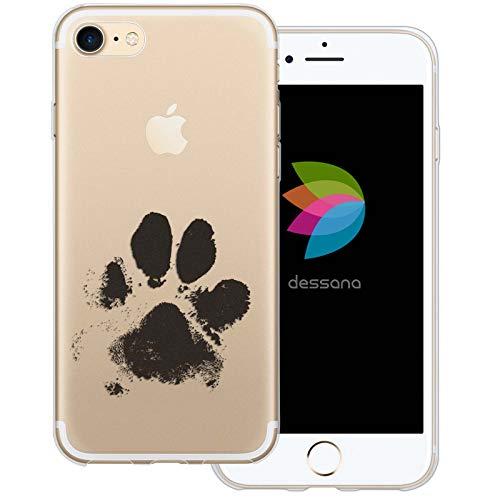 dessana Tier Pfoten Abdrücke Transparente Silikon TPU Schutzhülle 0,7mm dünne Handy Tasche Soft Case für Apple iPhone 7 Hunde Tatze