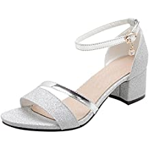 3343935e2e14c8 Artfaerie Damen Open Toe Riemchen Sandaletten mit Pailletten und Schnalle  Blockabsatz Glitzer Pumps Bequem Schuhe