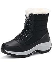 SAGUARO® Mujer Fur Otoño Invierno Plano Botines Calentar Botas De Nieve Lazada Zapatos para Los Reyes Magos