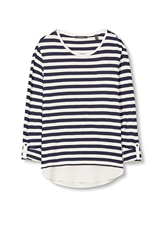ESPRIT Collection Damen Langarmshirt 997eo1k800 Blau (Navy 400)