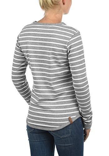 BLEND SHE Christin Damen Sweatshirt Pullover mit Streifen und Rundhals-Ausschnitt aus hochwertiger Baumwollmischung Zink Mix