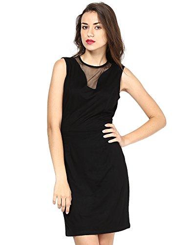 Besiva Women's Sleeveless Mesh Wrap Dress (BDP127_Black_Medium)