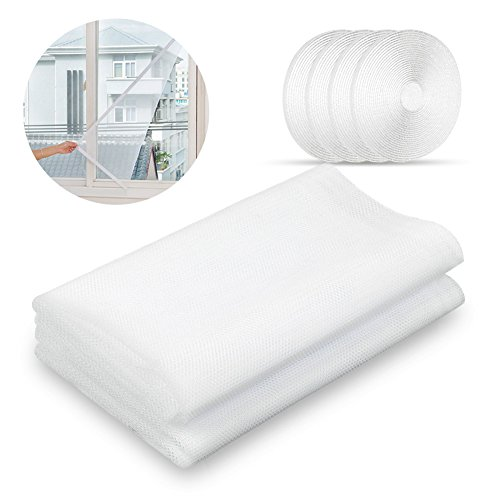 Sundell 2 pcs zanzariera finestra con 4 rotoli di nastro adesivo, anti zanzara insetto fly window screen, 130 x 150 cm (bianco)