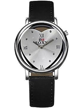 Mode Herzform Pu Leder Uhrenarmband Quarz Damen Armbanduhren, Schwarz
