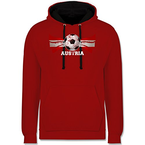 Fußball - Austria Fußball Vintage - Kontrast Hoodie Rot/Schwarz