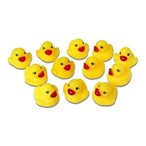 Schramm® 12 Stück Gummiente Quietsche Ente gelb ca. 3,5 cm Quietscheente Badeente Bade Ente Enten Badeenten Gummienten