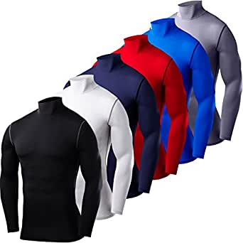 Mens & Boys PowerLayer Compression Base Layer / Baselayer Top Long Sleeve Under Shirt - Mock Neck - Blue - 6 years