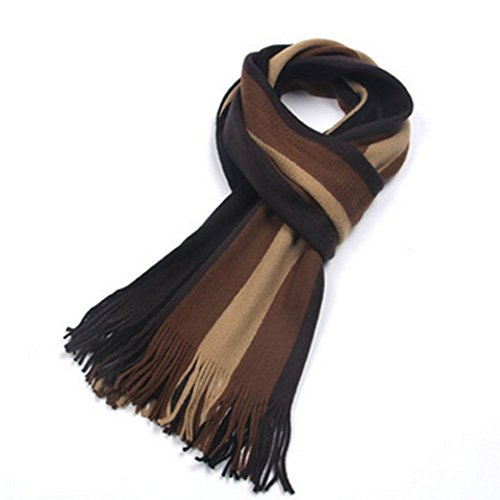 DA BODAN Autumn and Winter Korean Style Men Trend Leisure Thick Long Striped Cashmere Scarves (black and coffee)