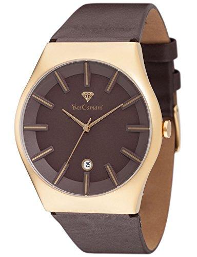 Yves Camani Loann - Reloj de cuarzo para hombres, con correa de cuero de color marrón, esfera marrón