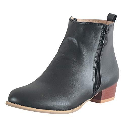 Erwachsene Chelsea Boots Damen Stiefel Wasserdicht Kurz Stiefeletten SchuheWorker Boots Stilvolle Frauen klassische runde Zehe Low-Heel-Reißverschluss auf Römischen -