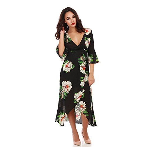 La Modeuse - Robe longue à fleurs cintrée munie de manches 3/4 évasées Noir