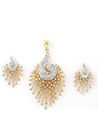 Sheela Enterprises Gold CZ Designer Peacock Pendent Nackalce Set With Chain And Earring For Girls And Women