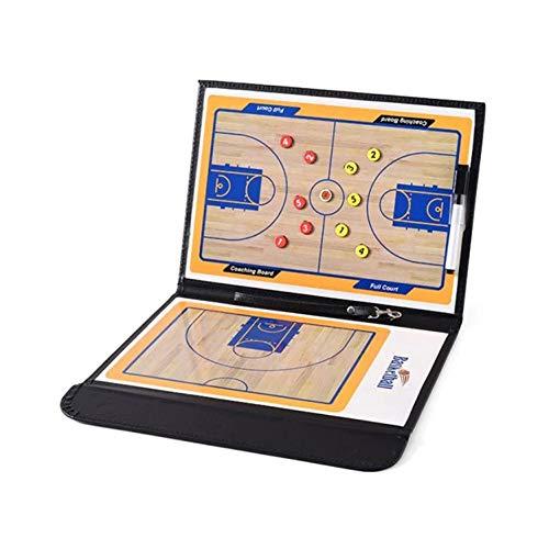Yangyme Basketball Ausrüstung Fußball-Taktik-Brett-Sand-Tabelle, die Leder-Fußball-Trainer-Scheiben-Magnetstift-Taktik-Brett-Falten-Falten-Basketball-Taktik-Brett faltet (Color : Schwarz)