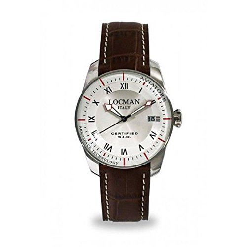 Watch Locman Aviator 045200 avfkrkpst Quartz (Rechargeable) quandrante Steel White Leather Strap