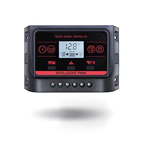 10A/20A/30A Solar Charge Controller 12V 24V con fondo Función USB 5V para cargar teléfono móvil LCD Panel Solar batería regulador de carga preisvergleich